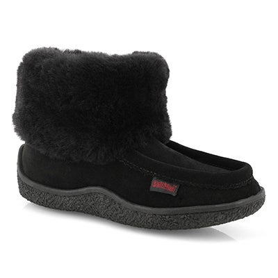 Lds Minimuk Peep blk shearling bootie