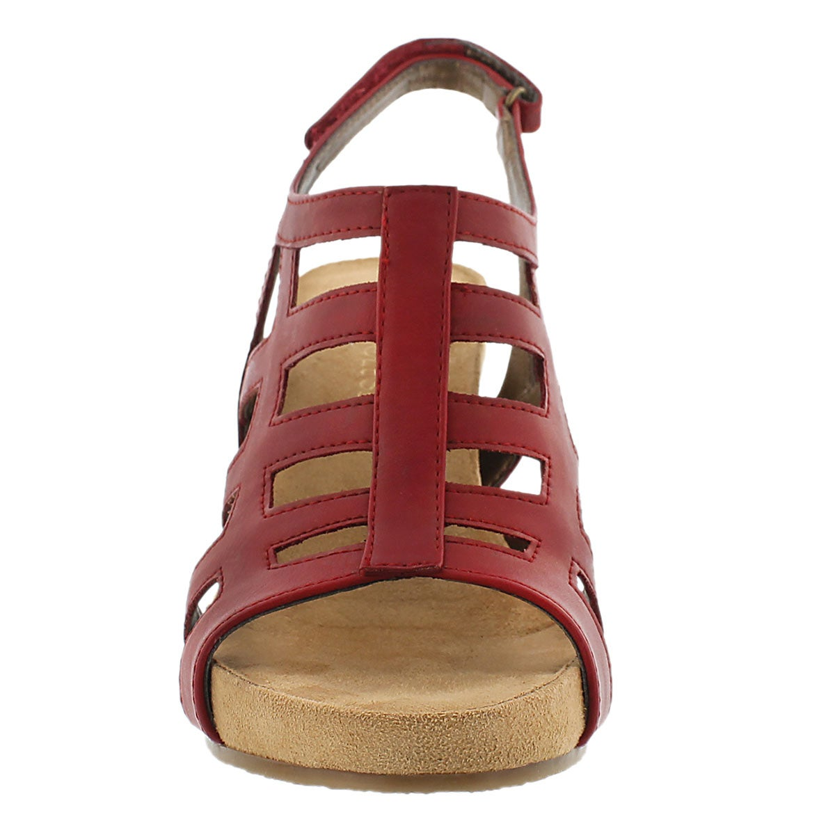 Lds Mint Plush red wedge sandal