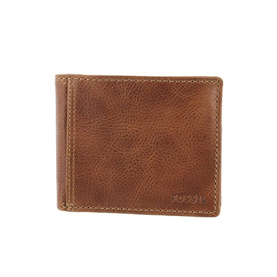 FOSSIL Men's BRADLEY SLIM bifold tan leather wallet