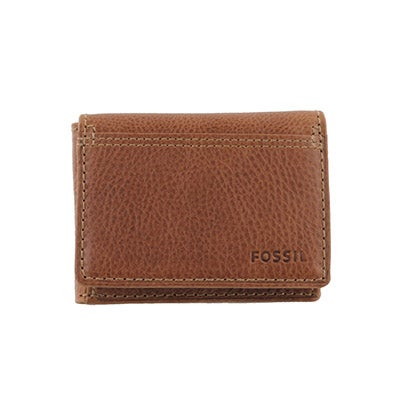 FOSSIL Men's BRADLEY EXECUFOLD tan leather wallet