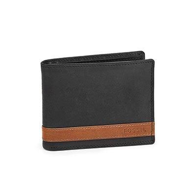 FOSSIL Men's QUINN bifold flip ID black wallet
