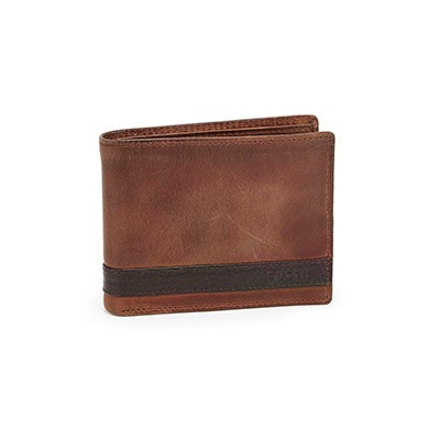 FOSSIL Men's QUINN bifold flip ID brown wallet