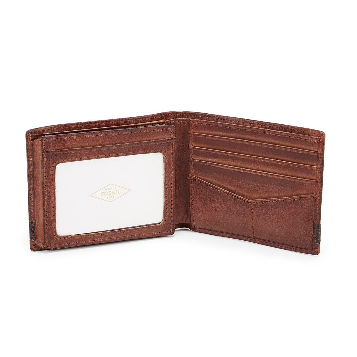 Mns Quinn Bifold Flip ID brn lthr wallet