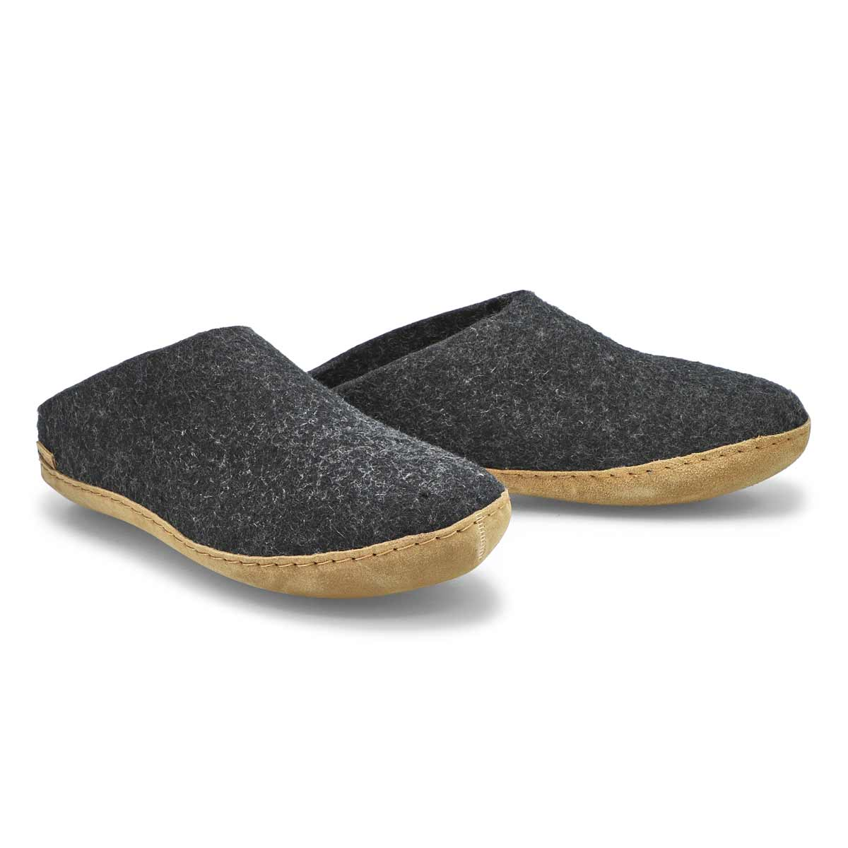 Mns Model B black open back slippers