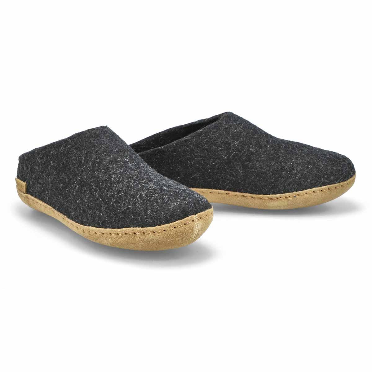 Lds Model B black open back slippers