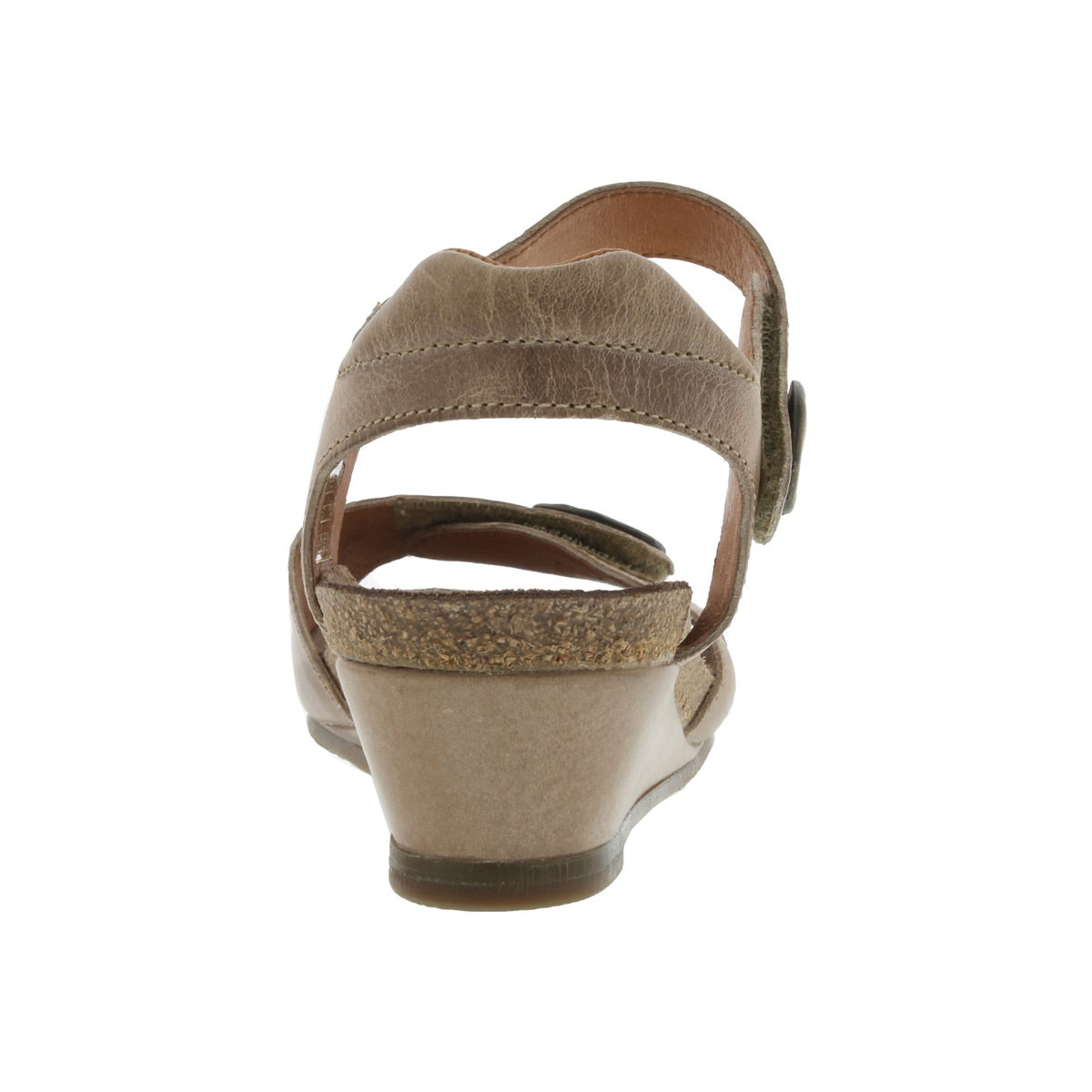 Lds Momentum taupe wedge dress sandal