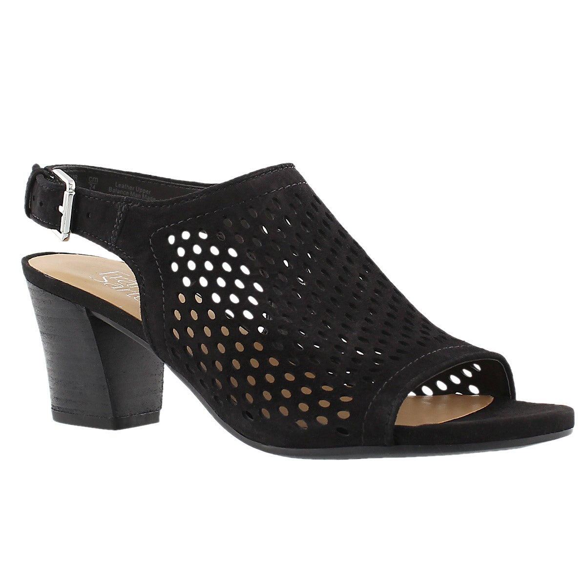 Lds Monaco 2 blk perforated dress sandal