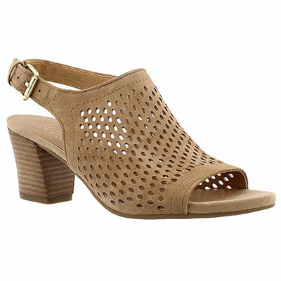 Franco Sarto Women's MONACO 2 taupe perforated dress sandals