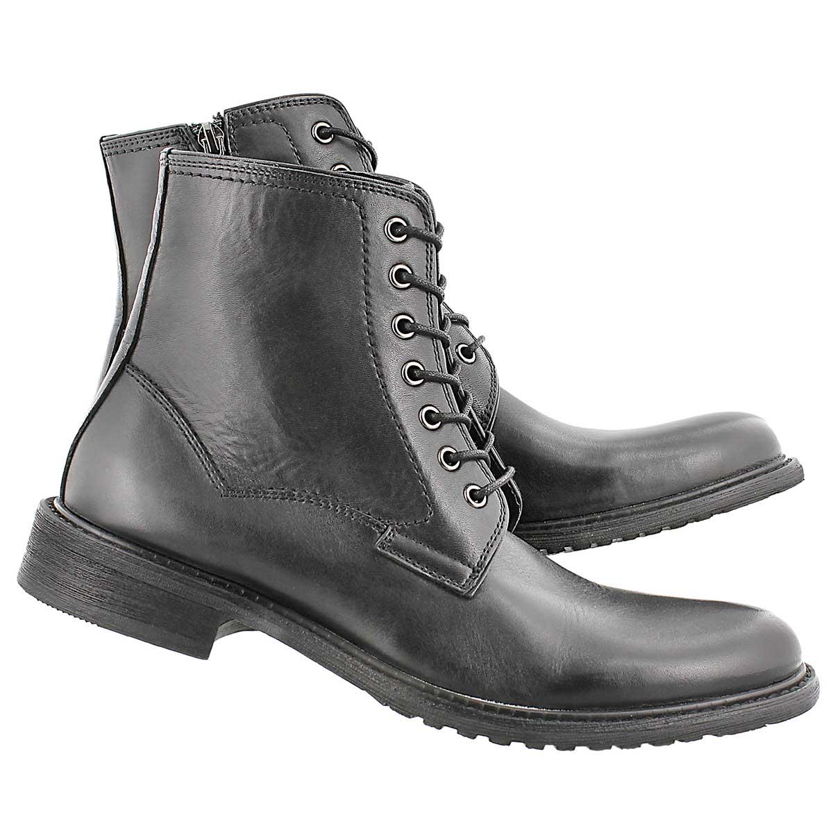 Mns Mountie blk 7eye oil lthr lace boot