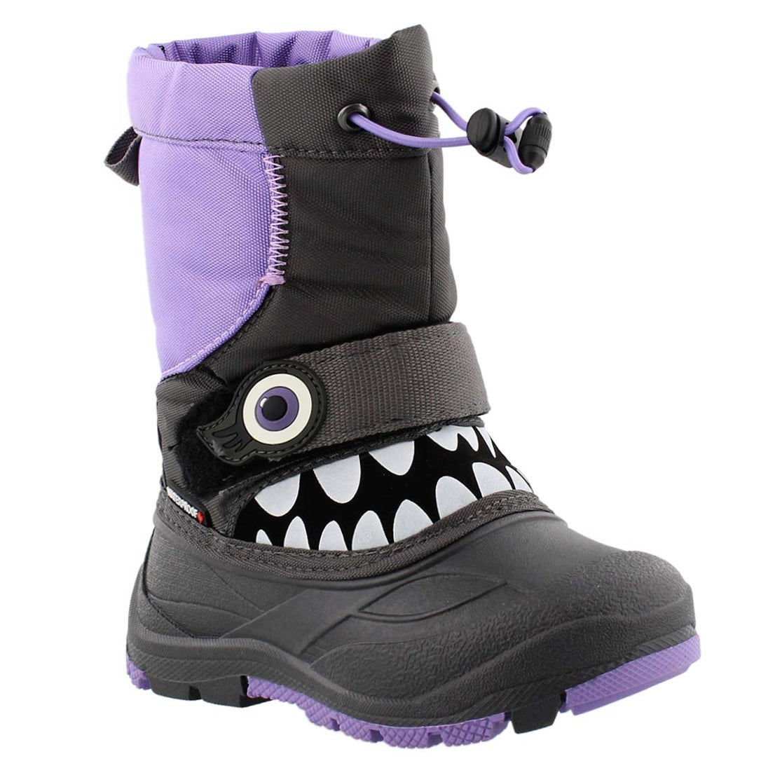 Girls' MUNCHKIN grey/lilac waterproof winter boots