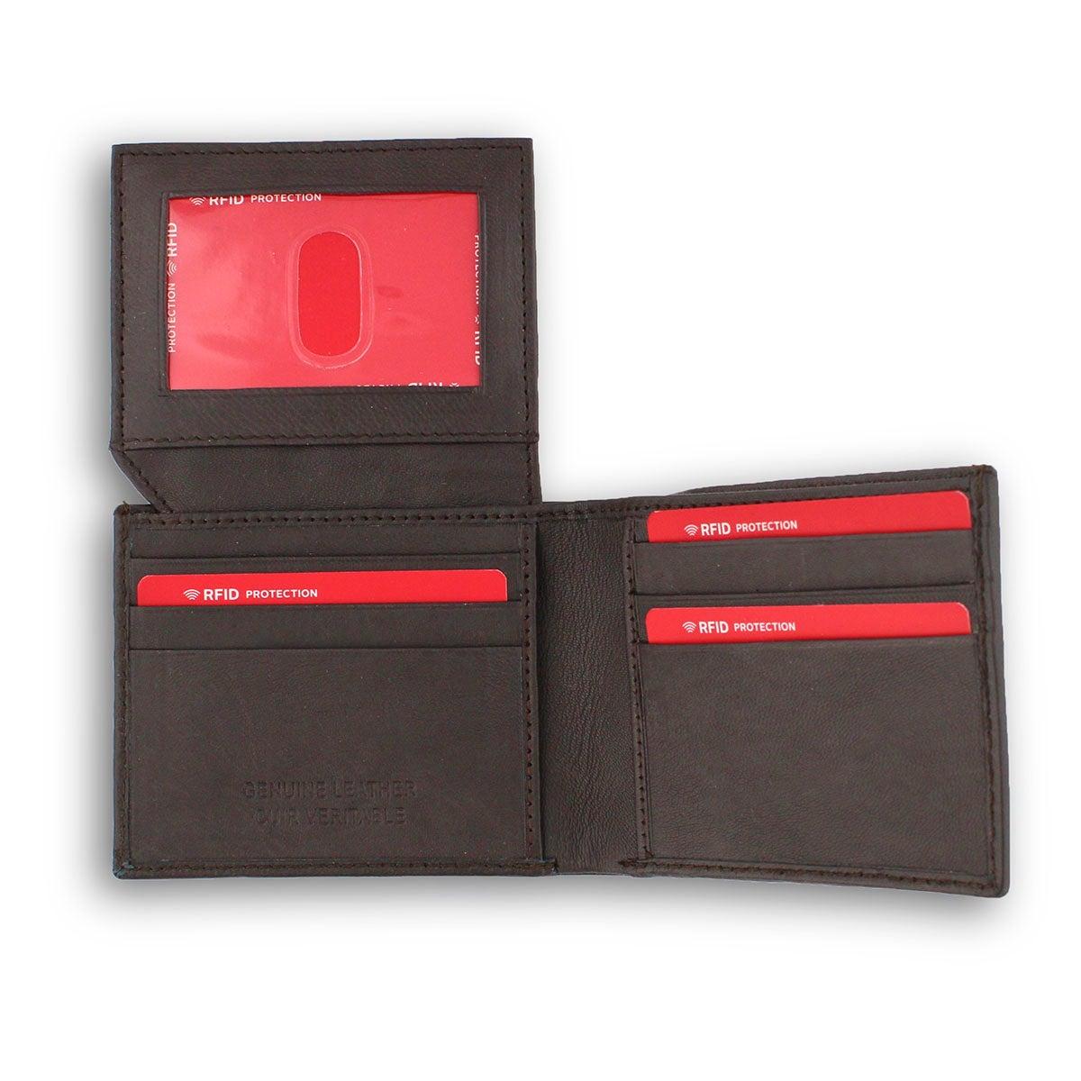 Mns brown genuine leather RFID wallet