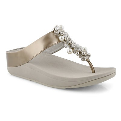 Lds Deco silver thong sandal