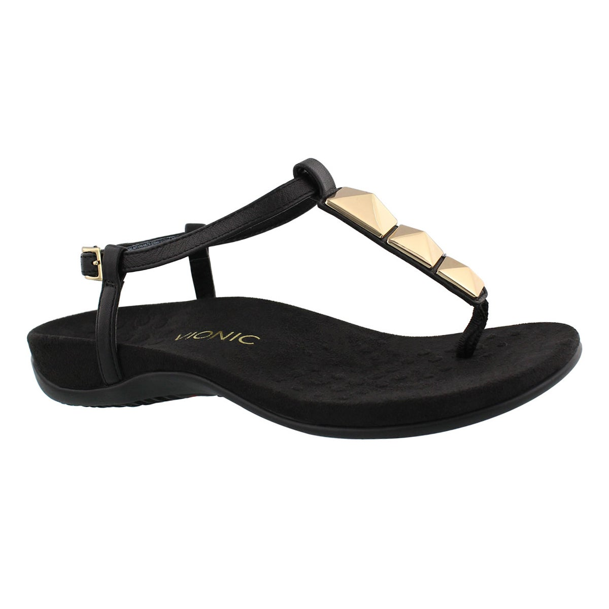 Women's NALA black arch support thong sandals
