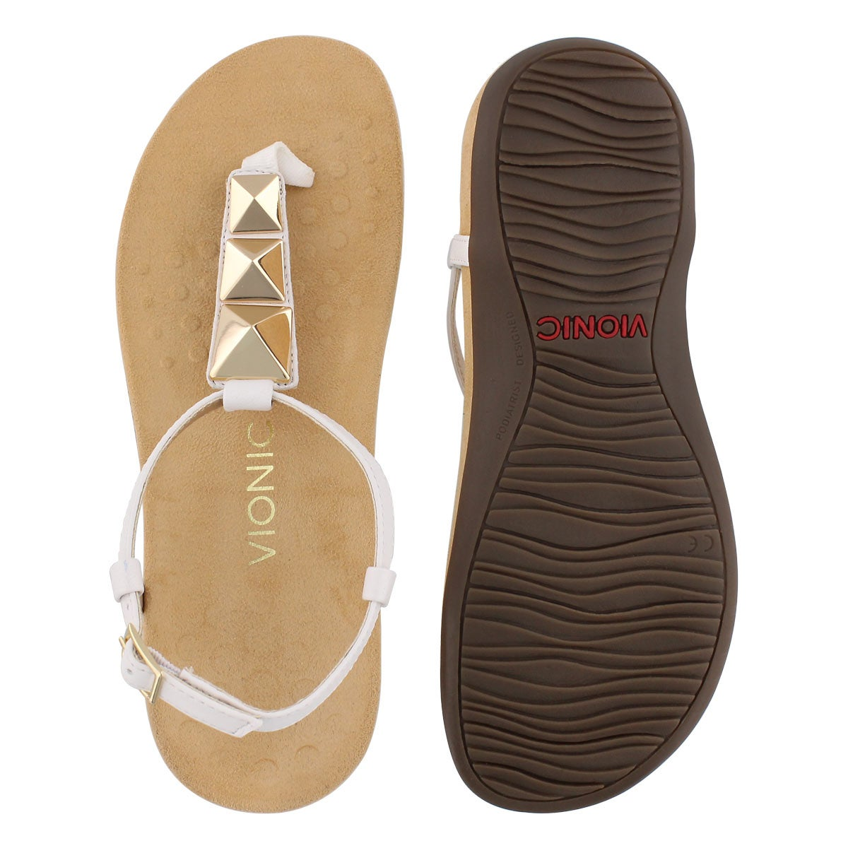 Lds Nala wht arch support thong sndl