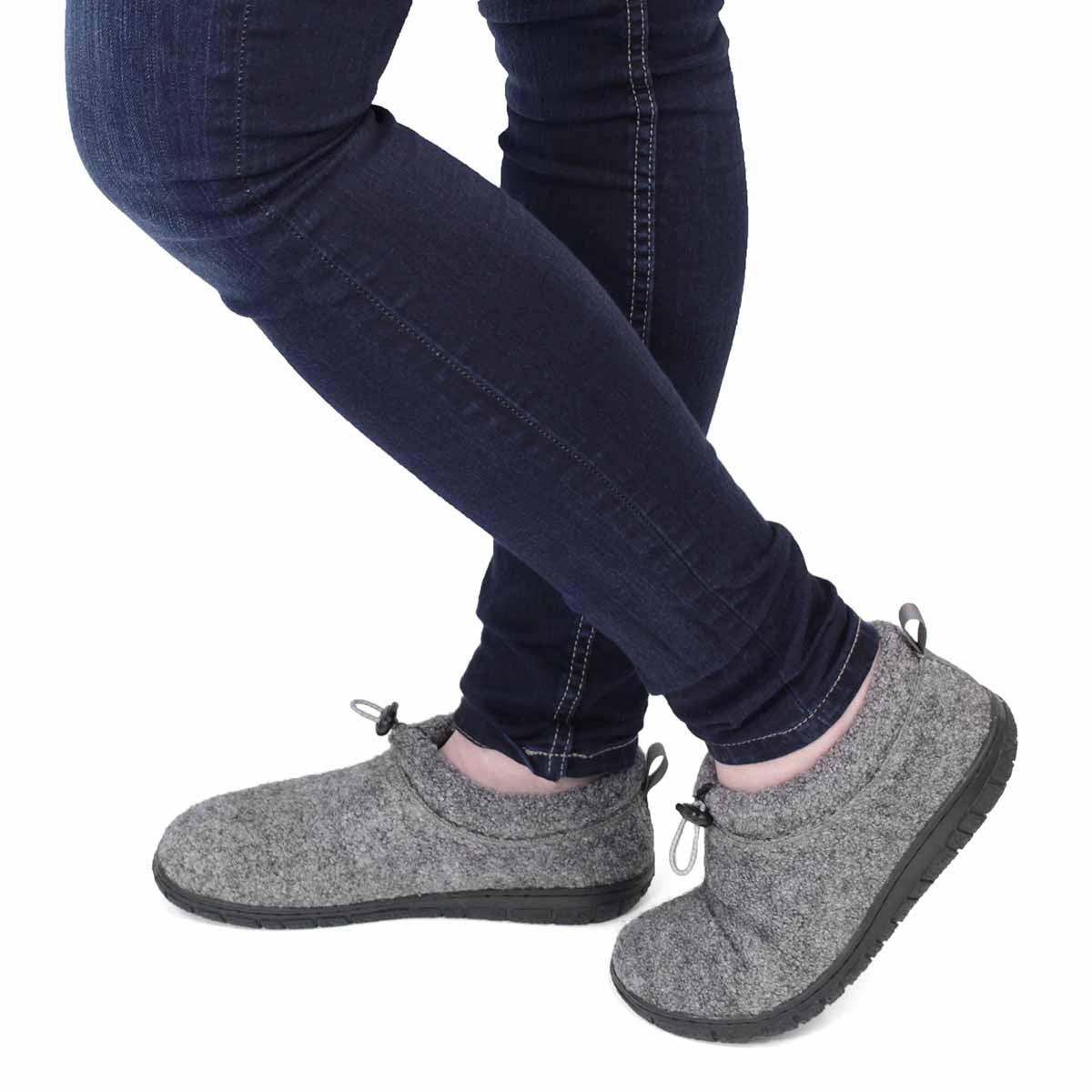 Lds Nancy gry mem foam clsd bck slipper