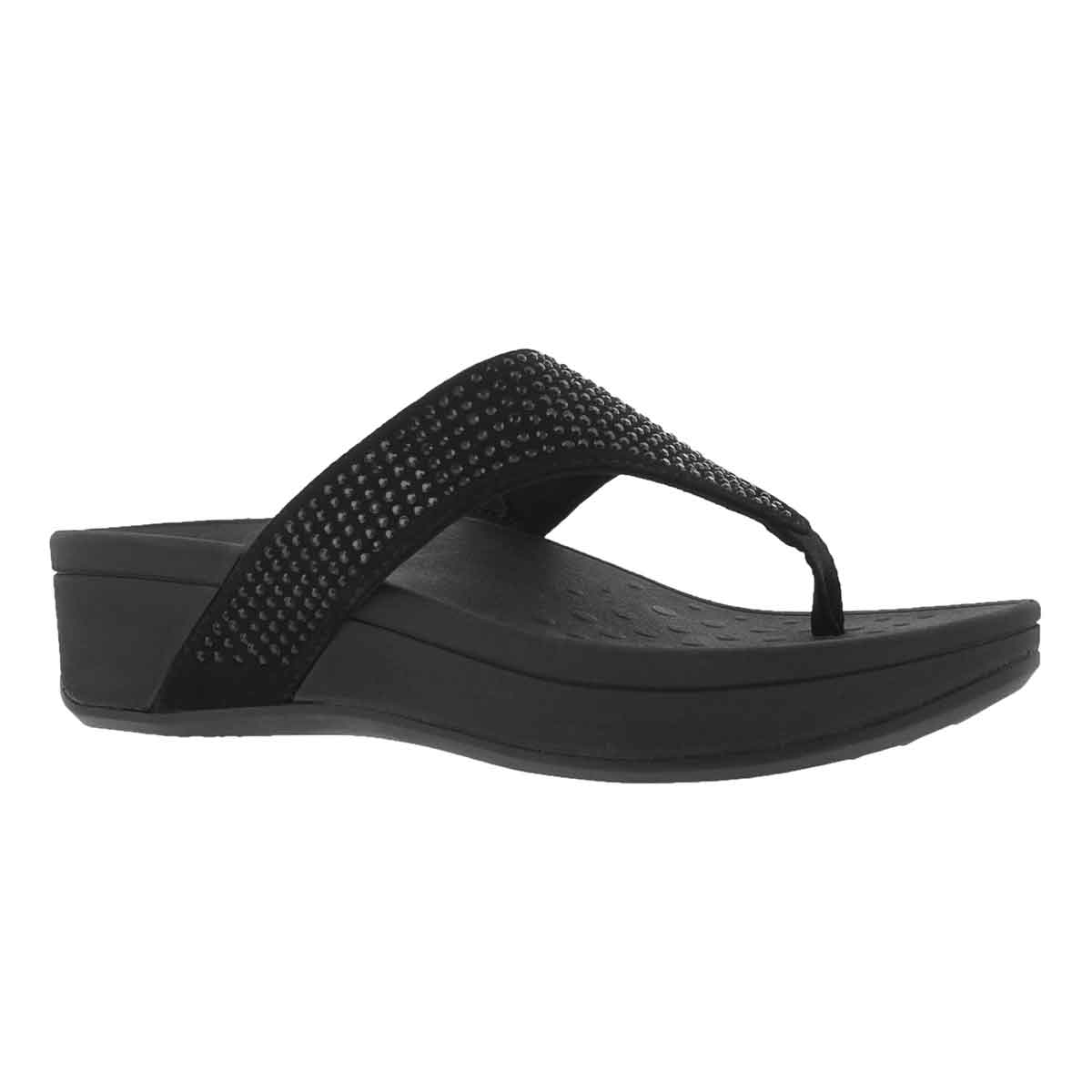 Women's NAPLES black arch support wedge sandals