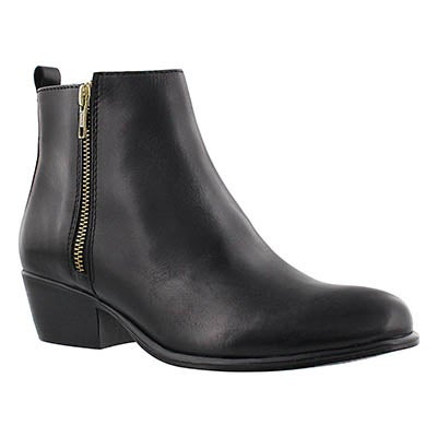Lds Neovista blk lthr zip up ankle boot