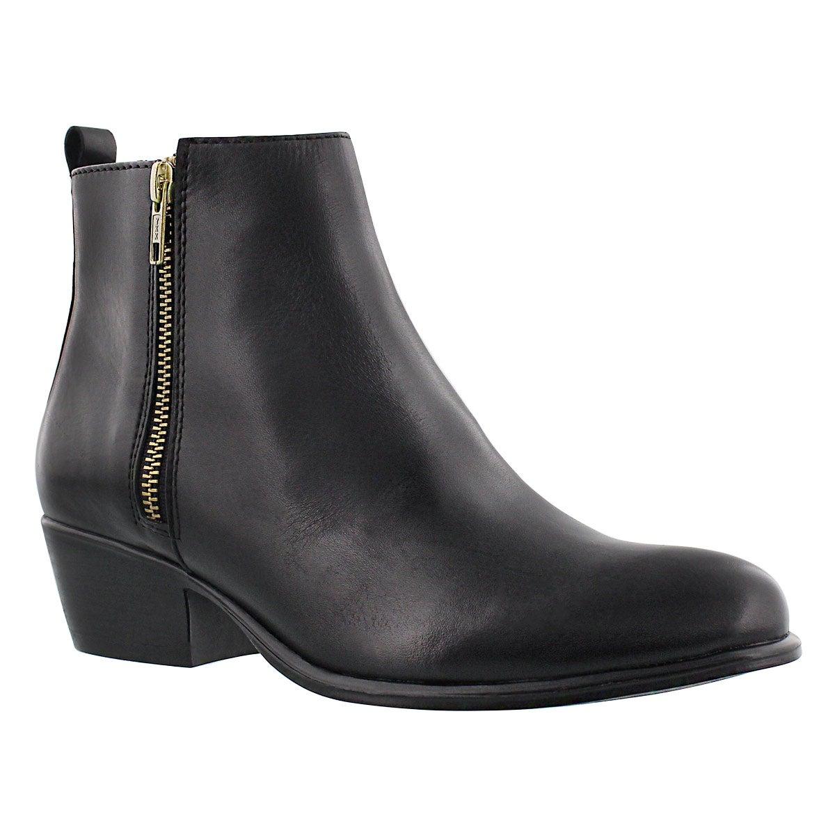 Lds Neovista blk lthr zip up ankle boot
