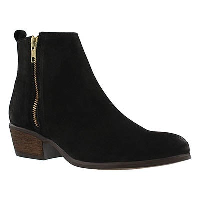 Steve Madden Women's NEOVISTA black nubuck zip up ankle boots