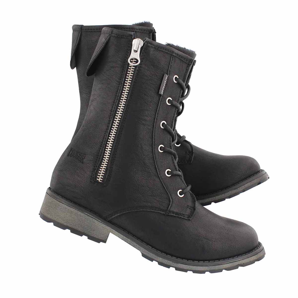 Grls Nera black wpf combat boot