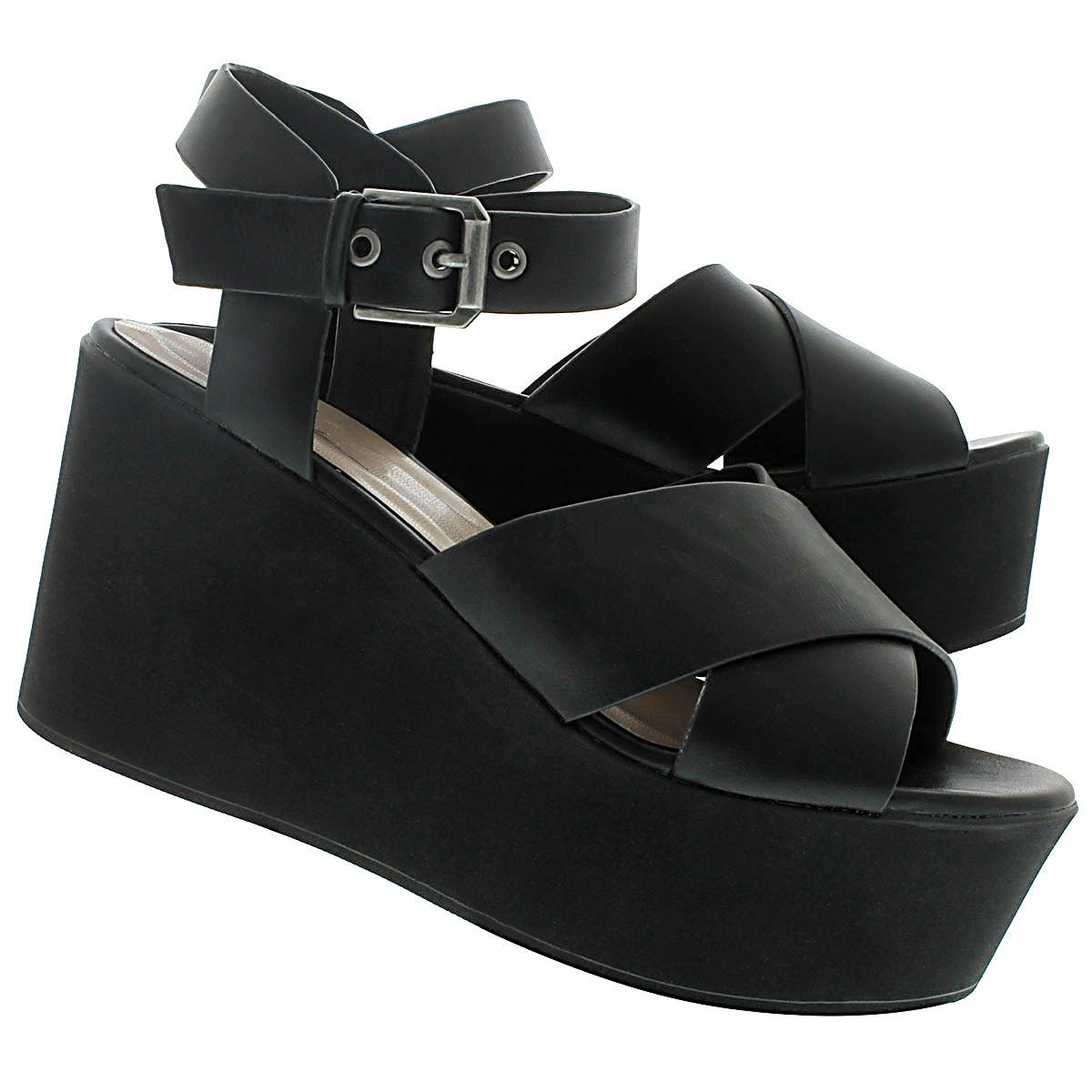 Lds Nikki black platform wedge sandal
