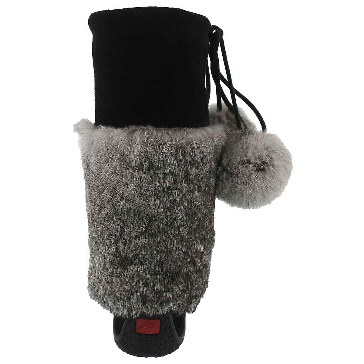 Lds Niska 3 blk/gry rabbit collar mukluk