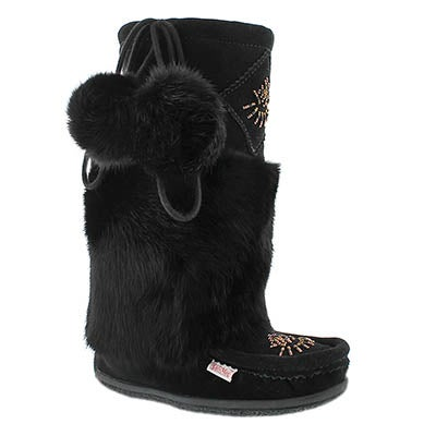 SoftMoc Women's NISKA 3 black rabbit collar mukluks