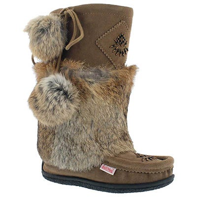 SoftMoc Women's NISKA 3  birch rabbit collar mukluks