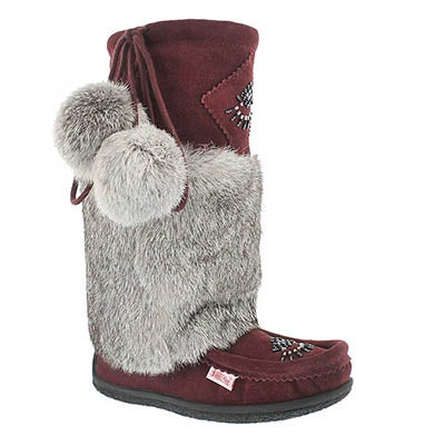 SoftMoc Women's NISKA 3 burgundy rabbit collar mukluks