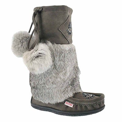 SoftMoc Women's NISKA 3 grey rabbit collar mukluks
