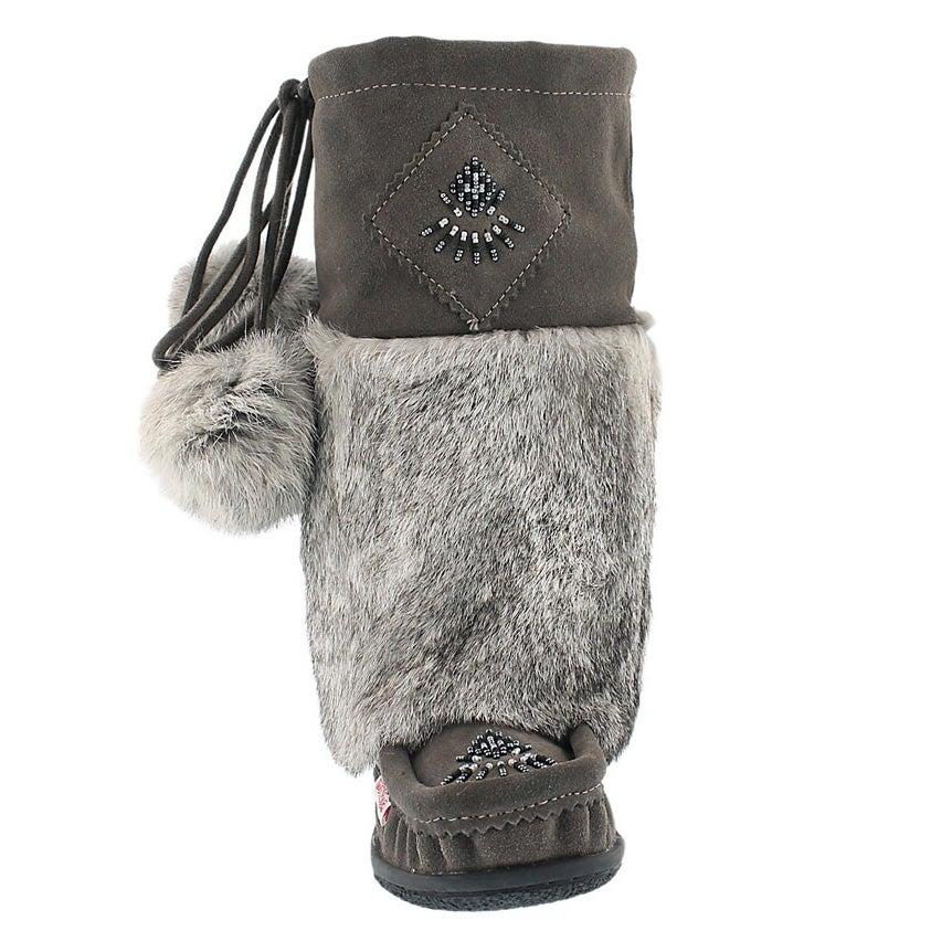 Lds Niska 3 grey rabbit collar mukluk