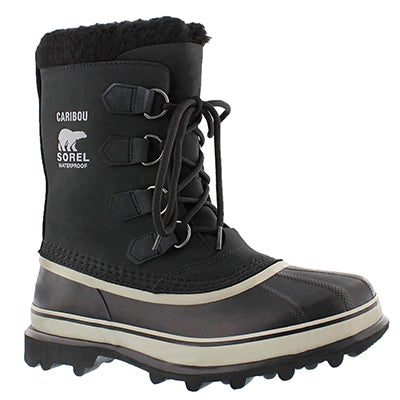 Sorel Men's CARIBOU BUFF black/tusk nubuck winter boots