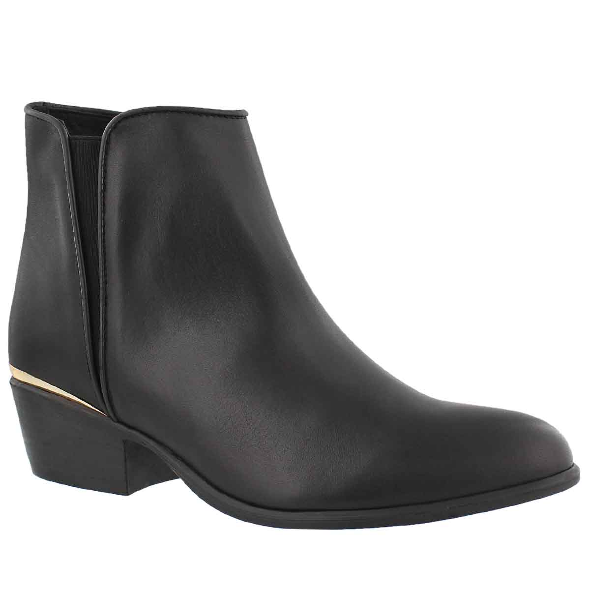 Women's NOBLE black leather ankle bootie