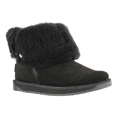 Lds Norway black suede zipper boot