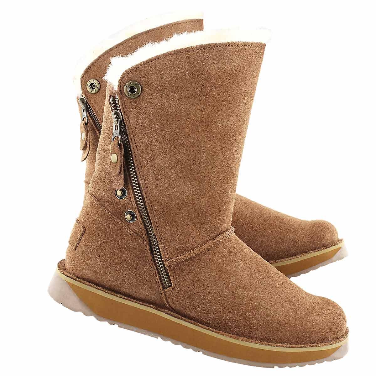 Lds Norway chestnut suede zipper boot