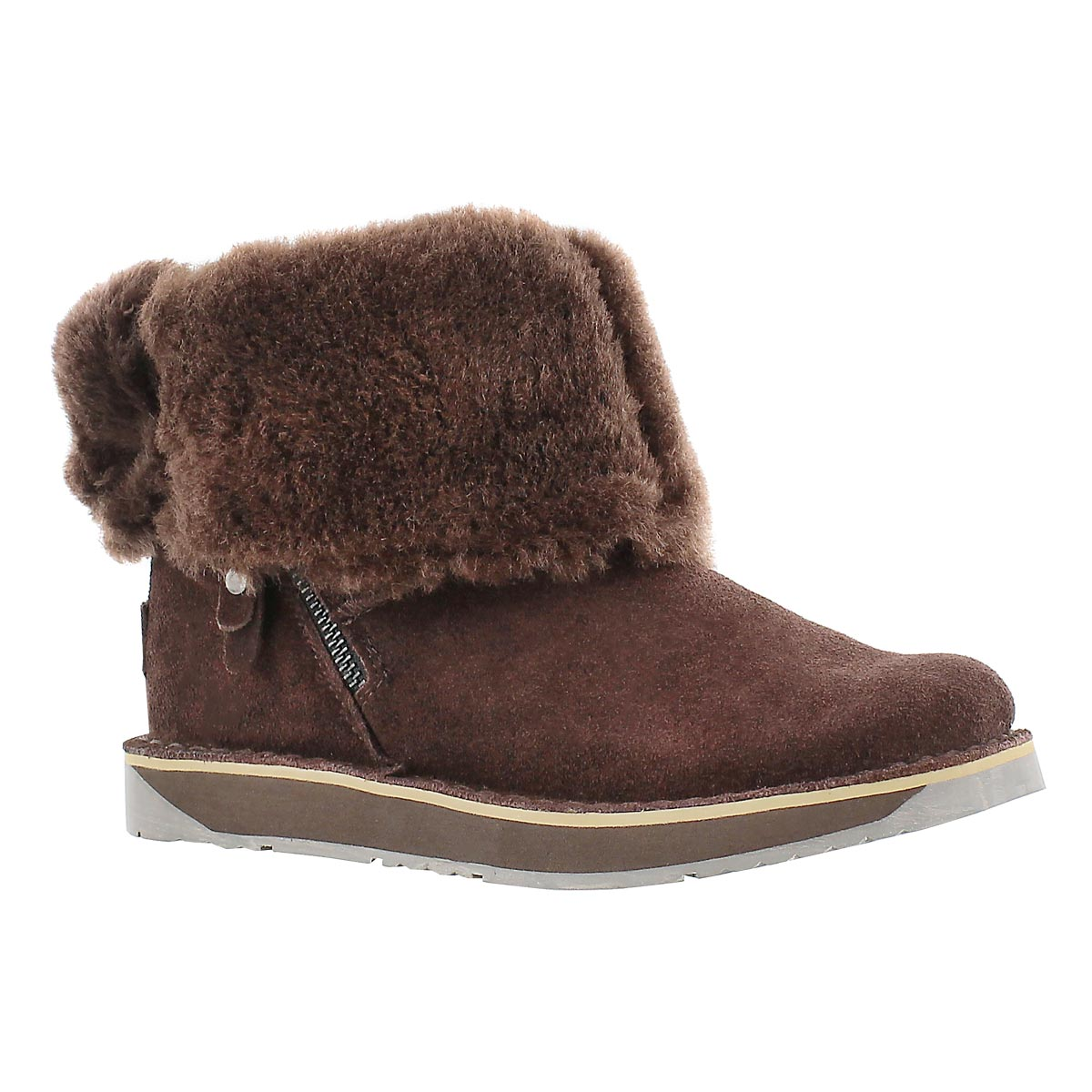 Lds Norway chocolate suede zipper boot