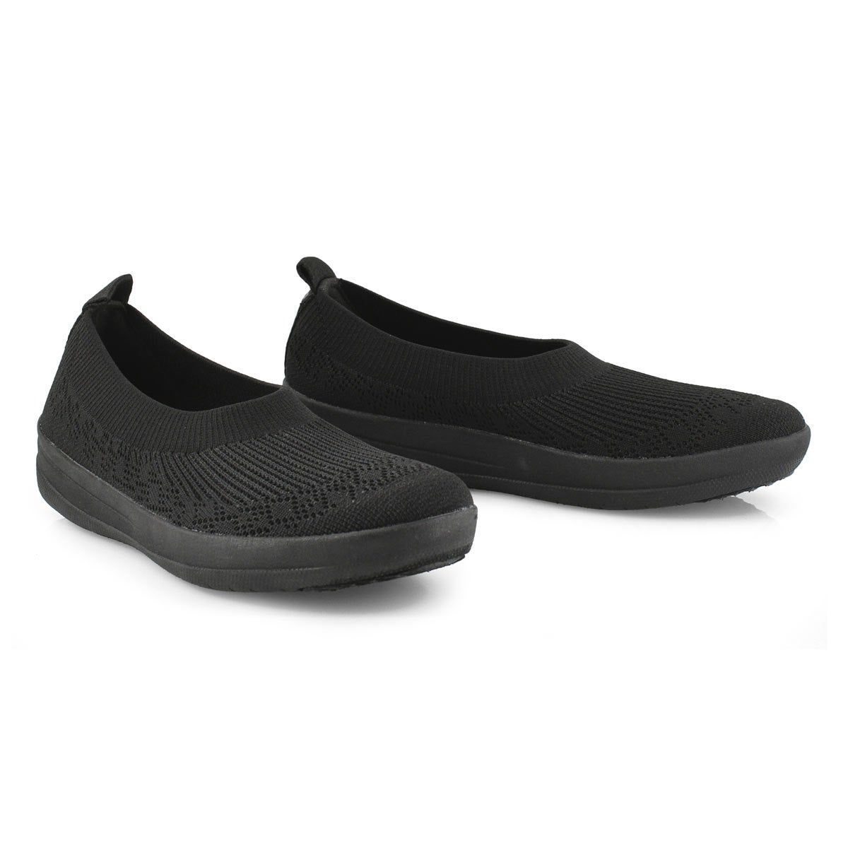 Lds Uberknit Ballerina blk slip on shoe