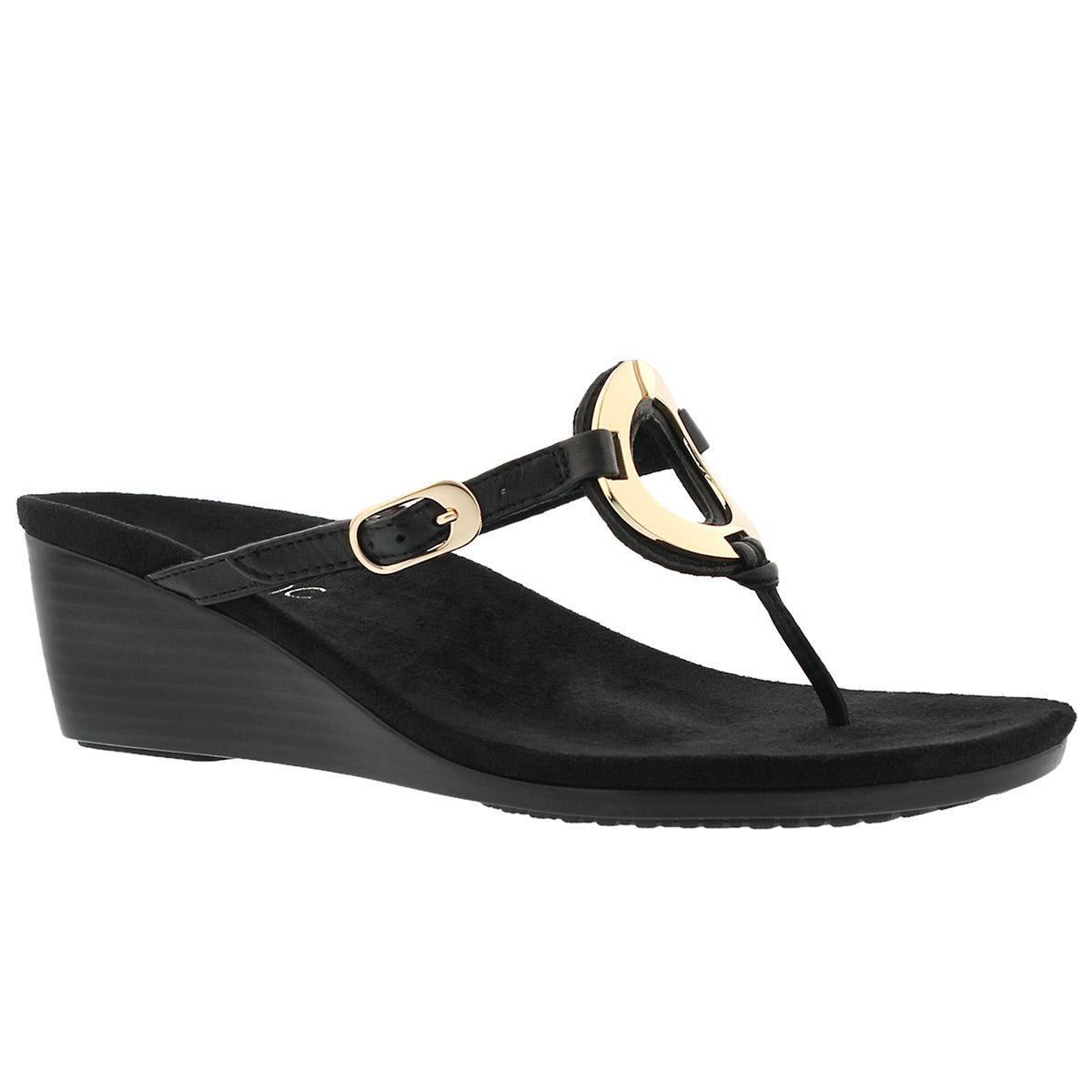 Women's ORCHID blk arch support thong wdg sandals