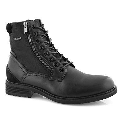 Mns Packer blk lace up combat boot