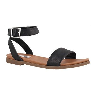 Lds Pana black ankle strap dress sndl