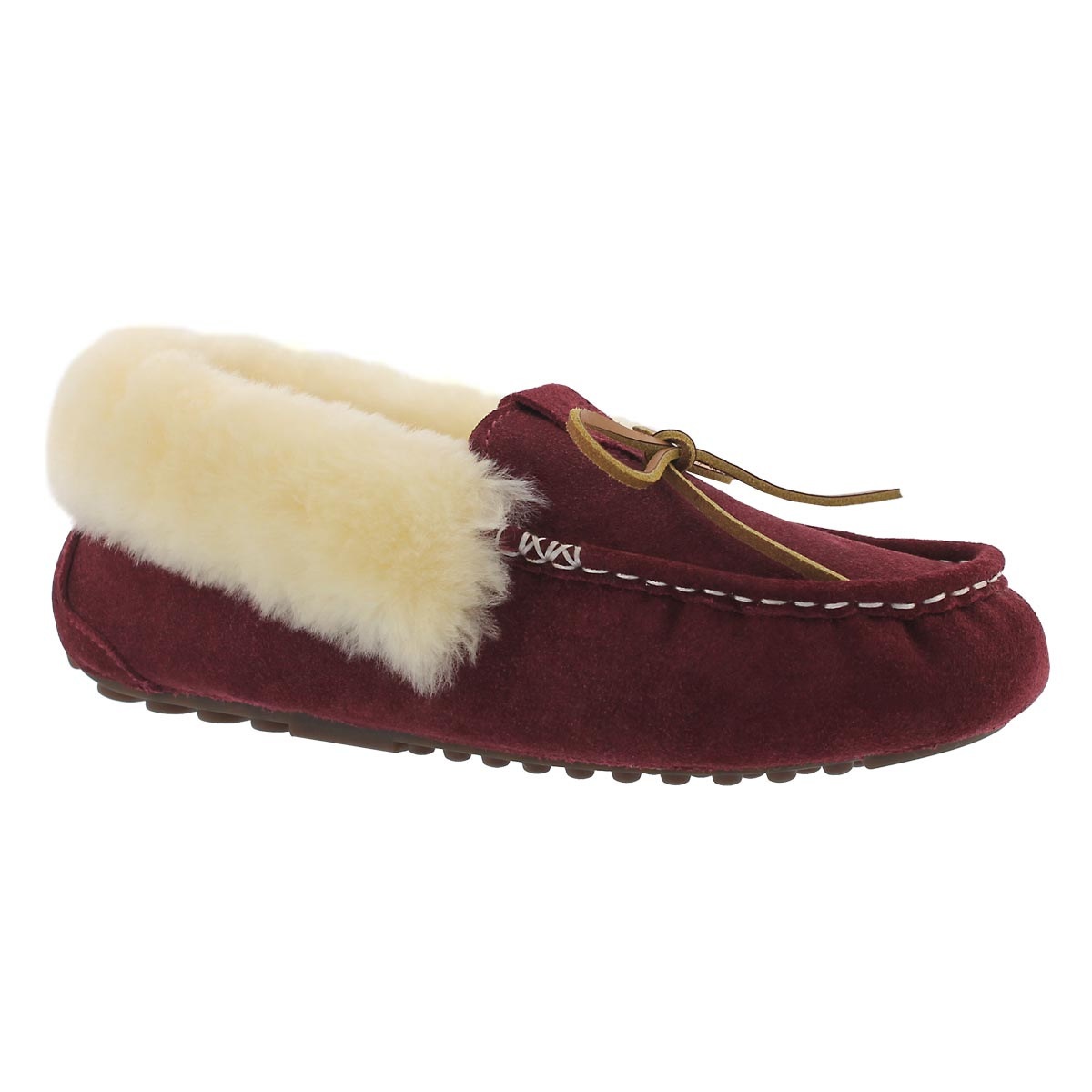 Lds Patty burg shearling lined suede moc