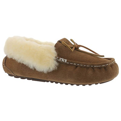 Lds Patty ches shearling lined suede moc