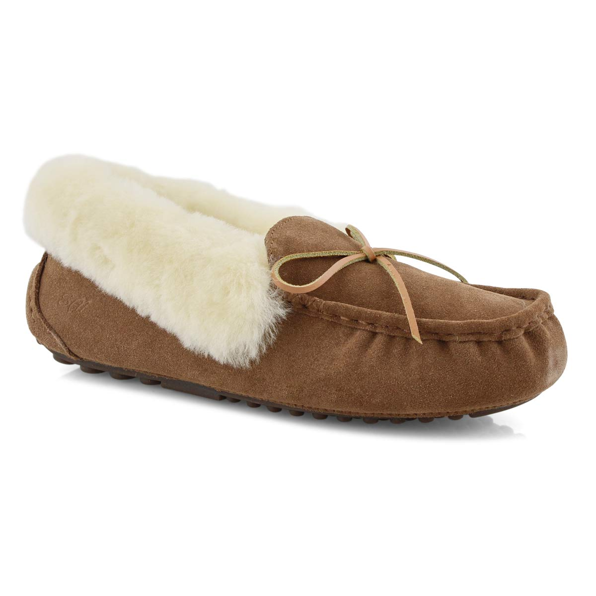 Lds Patty II ches shrlng lined suede moc