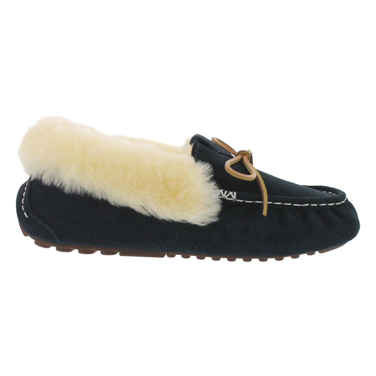 Lds Patty navy shearling lined suede moc