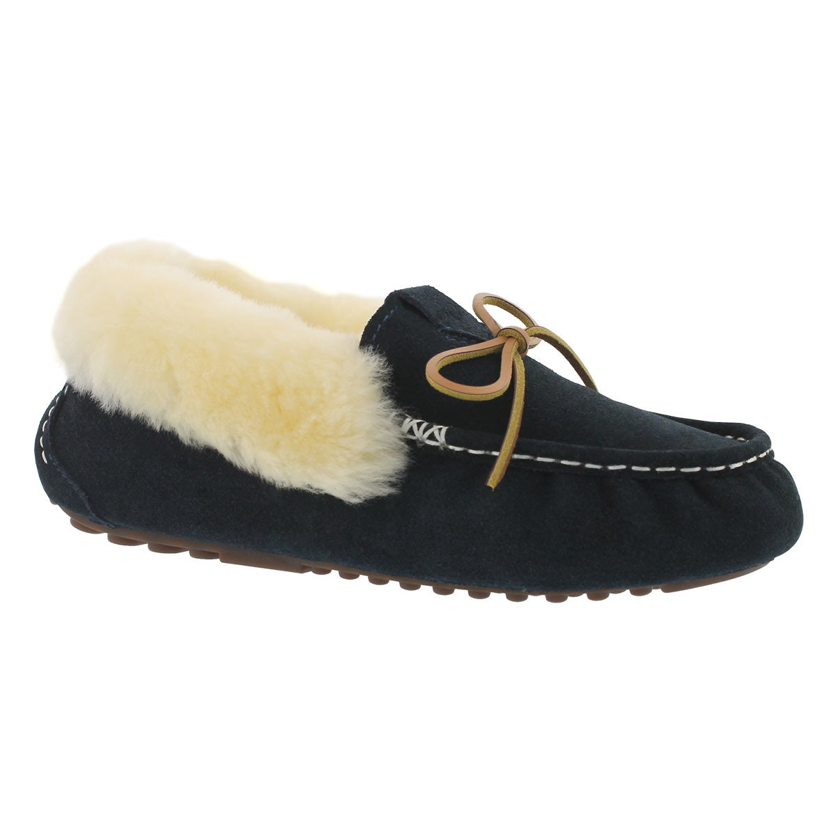 Women's PATTY navy shearling lined suede moccasins