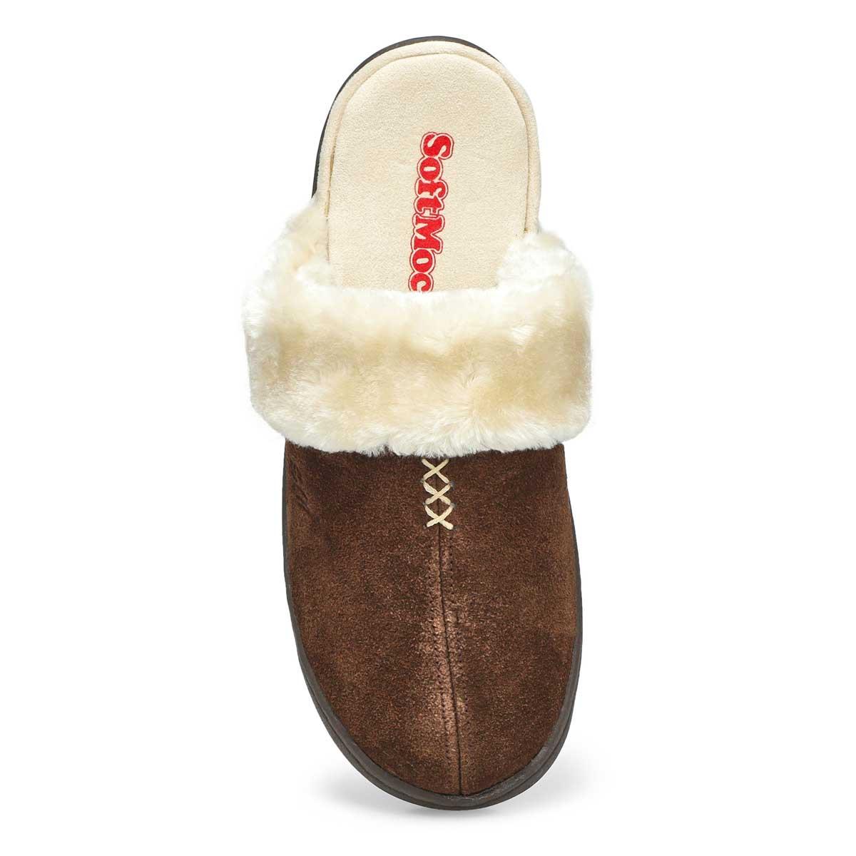 Lds Pauline chocolate open back slipper