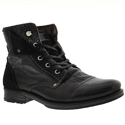 Mns Pedro blk lthr casual ankle boot