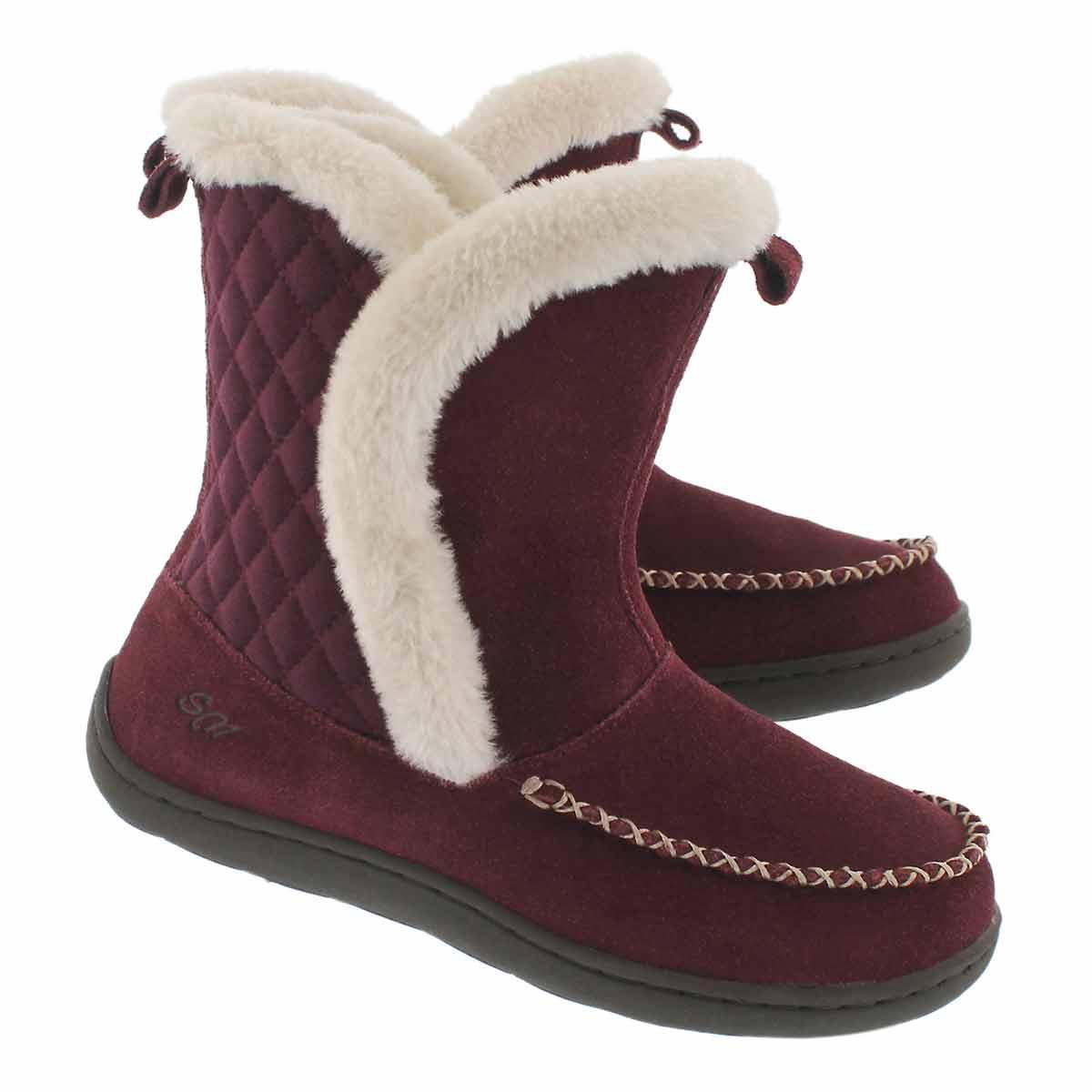 Lds Phoebe Hi burg suede slipper bootie