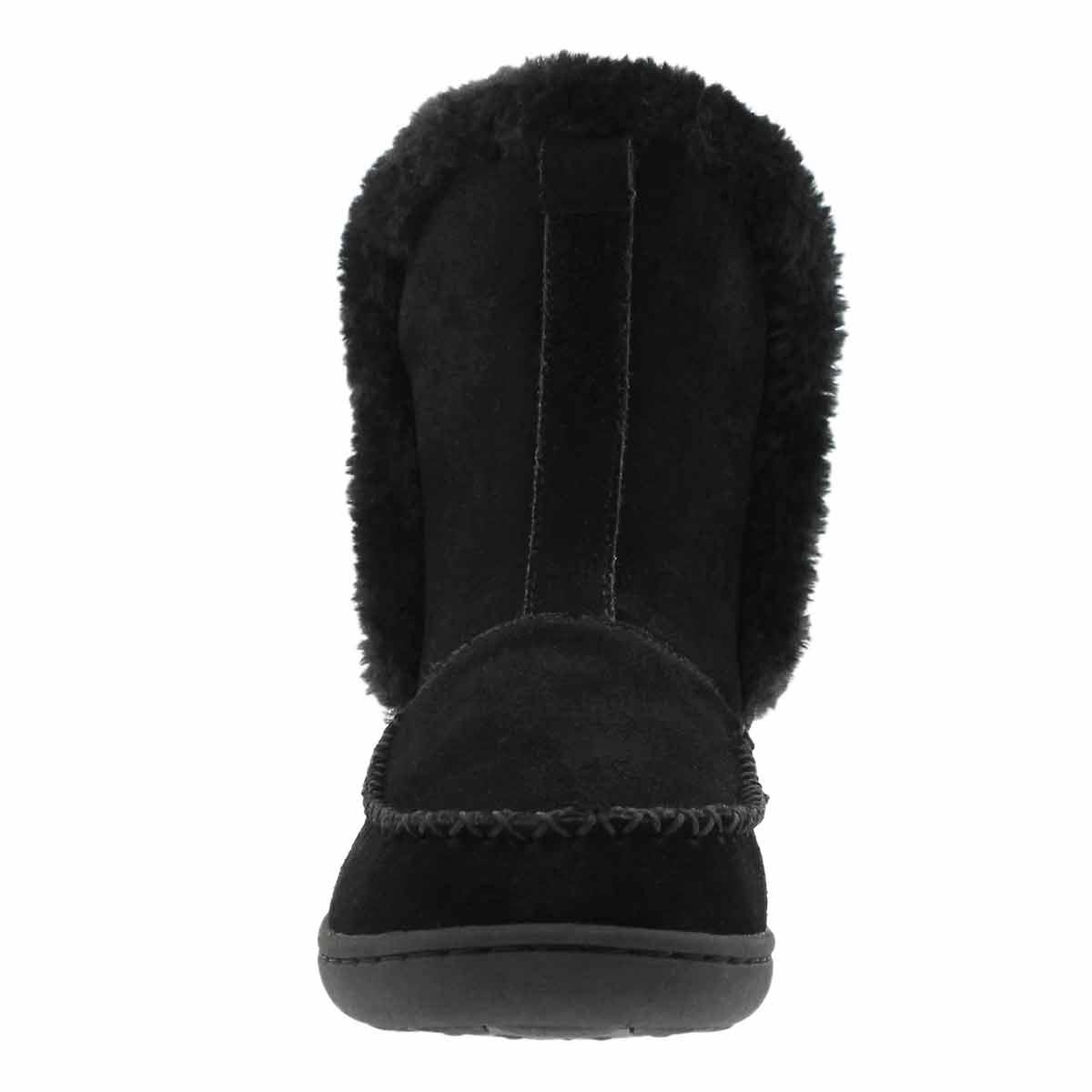 Lds Phoebe Hi blk suede slipper bootie