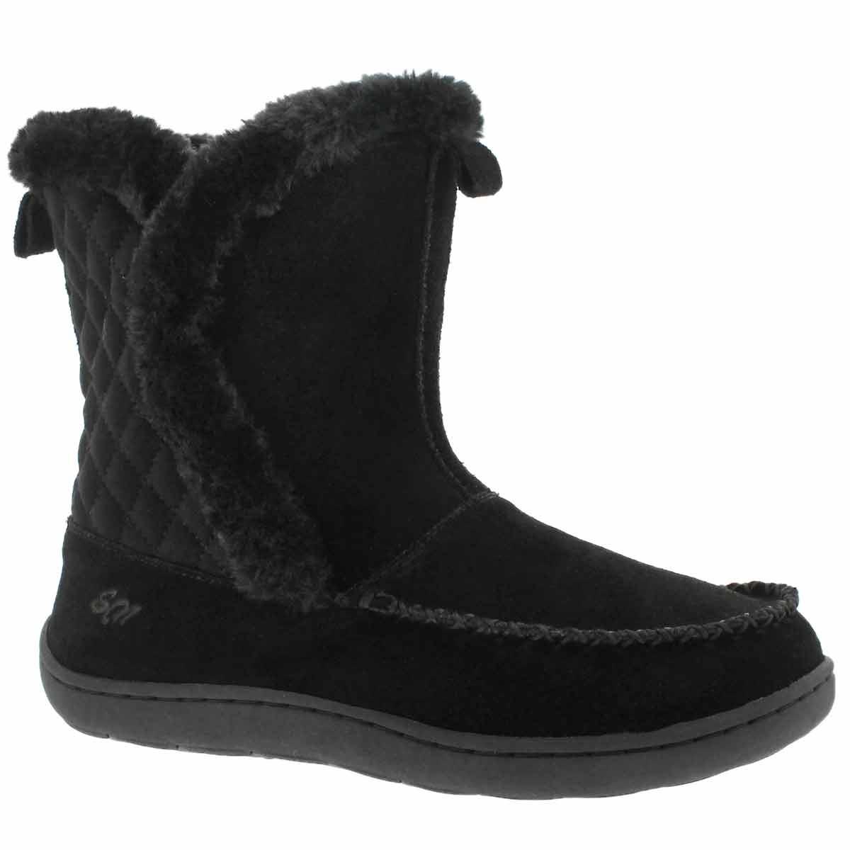 Women's PHOEBE HI black suede slipper booties